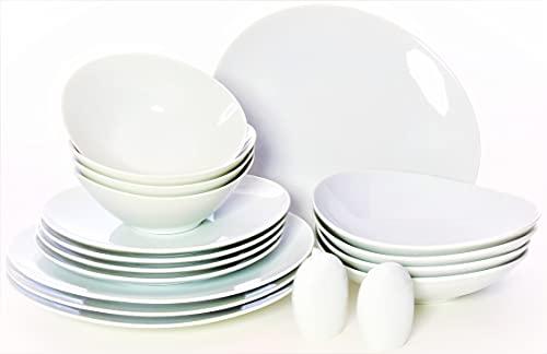 PHOE NIXX Serie Jasmin 18tlg, Porzellan Tafelservice mit 4 Speiseteller, 4 Suppenteller, 4 Dessertteller, 4 Müslischüsseln, Salz-&Pfefferstreuer, modern, Weiß, Geschirrset, Essgeschirr