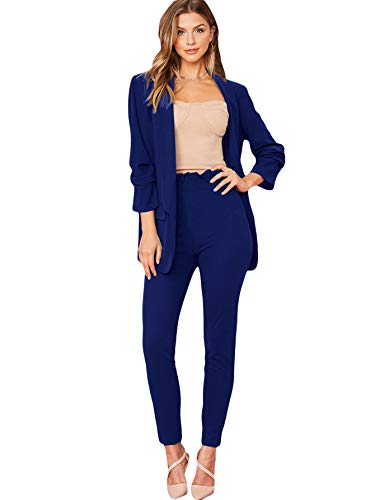 SheIn Women's Two Piece Plaid Open Front Long Sleeve Blazer and Elastic Waist Pant Set Suit Blue Medium