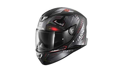 SHARK Herren NC Motorrad Helm, Schwarz/Anthracite/Rot, L