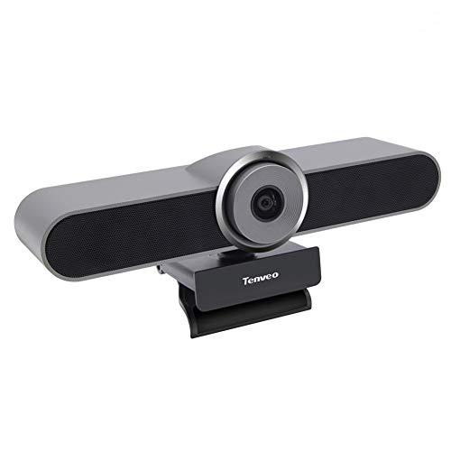 Cámara de videoconferencia Tenveo AV200pro, HD 1080K, Campo de visión 124 °, 360 °, Micrófono Con Altavoz Incorporado, Utilizable en Casa o Salas de Reuniones Pequeñas, Gris Plateado