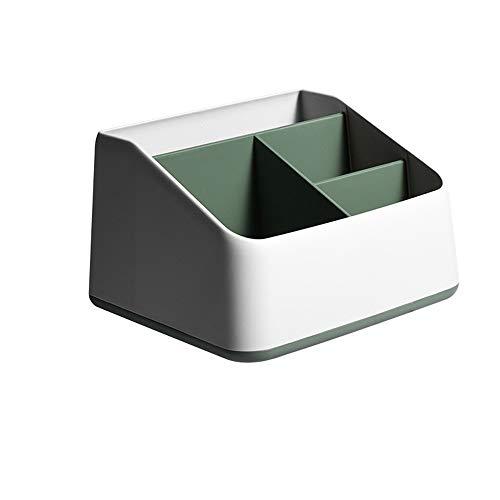 Guoz Caja de Almacenamiento de Escritorio de plástico 4 Compartimentos Caja de Almacenamiento de Control Remoto para Escritorio Oficina Cocina Baño para el hogar