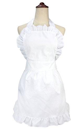 LilMents Damen Rüschen Outline Retro Taschen Schürze Küche Kochen Reinigung Dienstmädchen Kostüm weiß