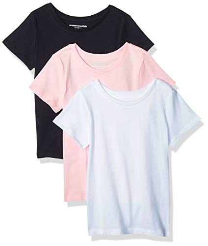 Amazon Essentials Girl's 3-Pack Short-Sleeve Tee, White/Black/Pink, L (10)