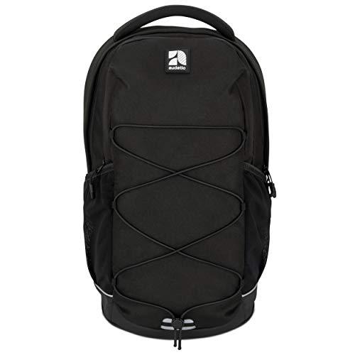 AUDETIC Schulrucksack Mädchen, Jungen, Teenager Schwarz AERO Ergonomischer Schulranzen aus Recycelten PET Flaschen - Nachhaltiger Rucksack für Schule, Freizeit, Reisen - Wasserabweisend