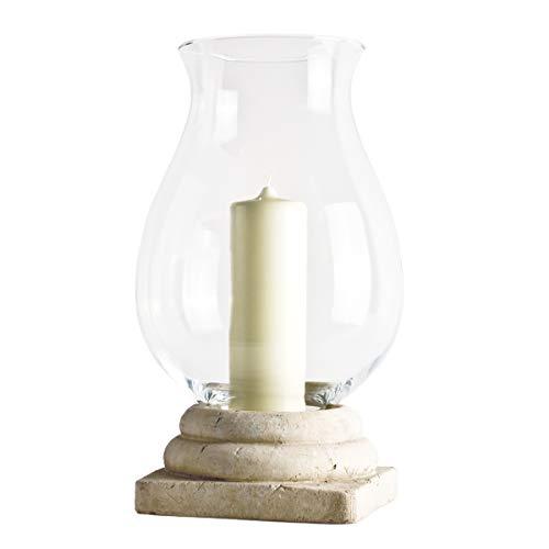 Varia Living Windlicht Herodot mit Glas und dekorativen Sockel aus Terracotta Vintage Shabby Chic | für innen oder im Garten | Farbe: antik-weiß | große Laterne im Nordic Stil (H 50 cm/Ø 40 cm)