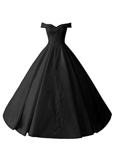 HUINI Brautkleider Lang Elegant Hochzeitskleider Satin A-Linie Quinceanera Kleider Promkleider Rückenfrei Ballkleider Glitzer Schwarz 48