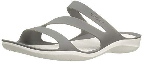 crocs Women's Swiftwater Sandal, Smoke/White, 5 M US