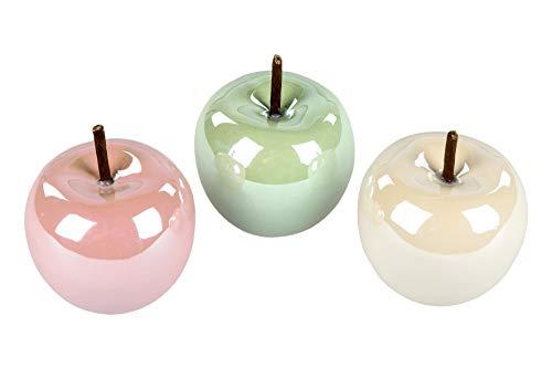 formano 3er Set Dekoobjekt Apfel Perlmutt Design 8 cm Frucht Früchte Figur Dekofigur