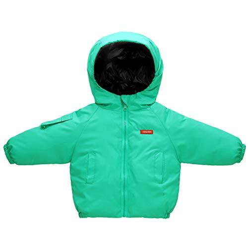 Lichtgewicht donsjack voor kinderen dubbelzijdige donsjas kleine kinderen capuchon gewatteerde winter jongens meisjes outwear kleding 2-3 Jahre groen