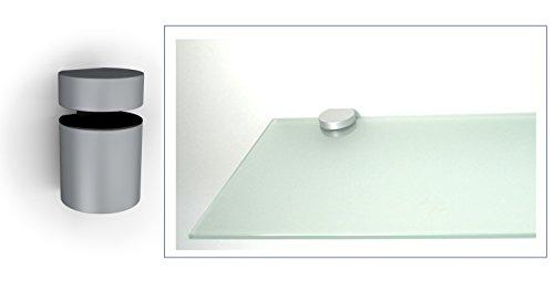 Glasregal Wandregal 50x20 cm / 8 mm satiniertes Glas mit BASKET3 silbermatt