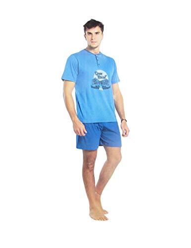 Karel und Herren-Schlafanzug, kurz, aus Baumwolle, mit Auto-Druck, in Serafino 6289, Blau Medium
