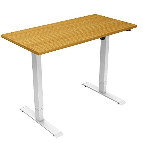 Allcam Desk Electric Standing Desk/Ergonomic Height Adjustable Sit-Stand Workstation with Beech 120 x 80 cm Desktop