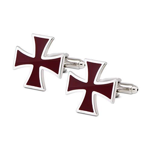 VIILOCK Celtic Cross Red Enamel Pair Cufflinks for Men Christian Irish Mens Cuff Links Business