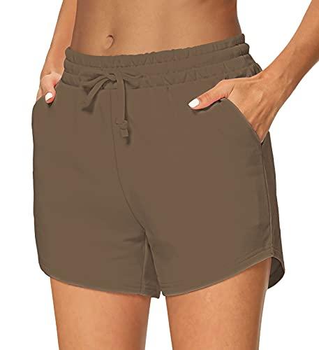 Sarin Mathews Damen Yoga-Shorts, bequeme Kordelzug, Lounge-, Active-Workout-, Laufhose mit Taschen - Braun - Klein