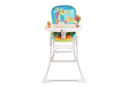 Clamaro 'Hangry' Baby Kinder Hochstuhl klappbar ab 6 Monate mit 3-Fach verstellbarem 2in1 Tisch inkl. Tablett (separat herausnehmbar), 5-Punkt Sicherheitsgurt, stabile Standfüße - Palme