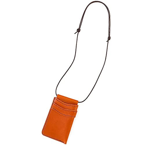 PAIDiA IDカードホルダー メンズ レディース 本革 革 ネックストラップ 定期入れ パスケース カードケース 眼鏡かけ ペンストラップ 栃木レザー 日本製 格好いい おしゃれ P077OR (オレンジ)