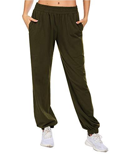 Balancora Pantalones de chándal para mujer, largos, holgados, suaves, de entrenamiento, cintura elástica, con bolsillos