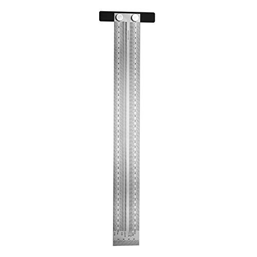 DALADA Regla en T de precisión, regla en T, con agujero en T, de acero inoxidable, herramienta de medición de marcación, 180/200/300/400 mm