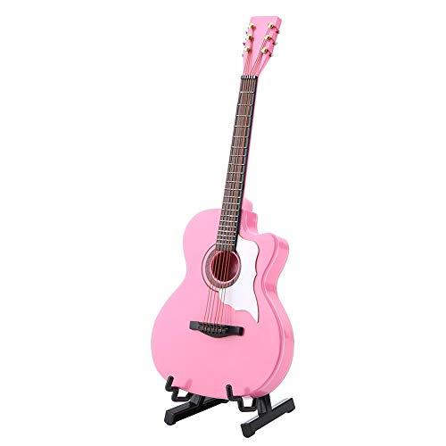 Garosa Miniatura Acustica Miniatura gitaar, verzamelkaart met standaard en tas, ornament-gereedschap, model kerstcadeau voor thuiskantoor