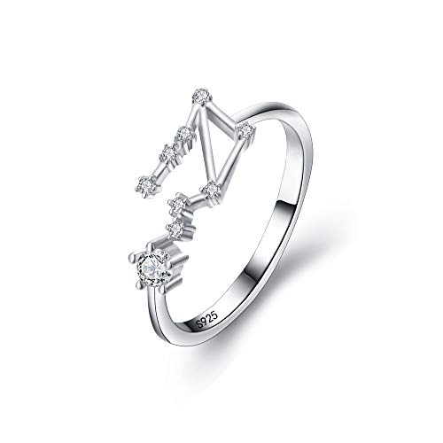 BriLove 925 Sterling Silver CZ Statement Ring for Women -'Libra' Horoscope Zodiac 12 Constellation Astrology Adjustable Ring