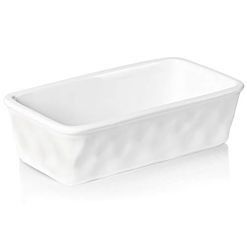 HAOTOP Ceramics Loaf Pan for Baking, Non-Stick Porcelain Bread bowl, Baking bowl, Perfect for Meat and Bread,8.5-inch (White)