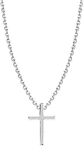 Zaaqio Collar de Cruz Simple para niñas, joyería de Color Plateado para Mujer, Collar con Colgante de Cadena de clavícula, Regalo