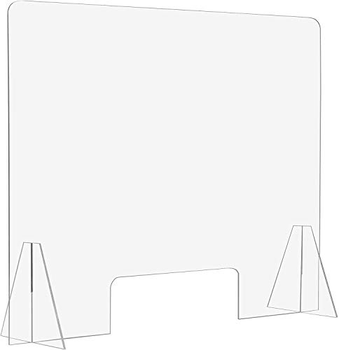 Free Standing Sneeze Guard with Pass Through By BenchPro - 3/16' thick - 16' L x 24' H