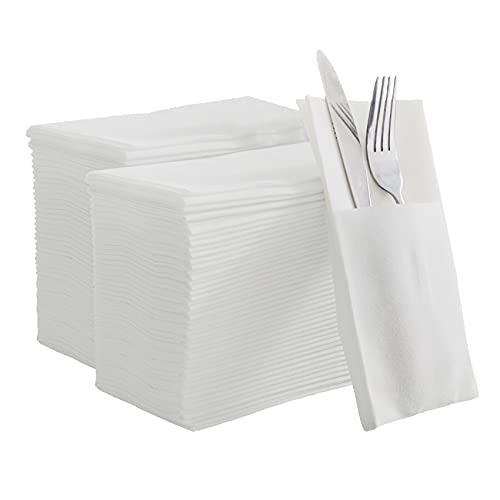 KMAKII 100 Pack White Paper Dinner Napkins with Built-in Flatware Pocket Disposable Paper Hand Napkins for Parties, Weddings, Events Linen-Feel 16x16 inches