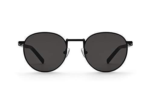 TAKE A SHOT Holz-Sonnenbrille Herren Rund Schwarz, UV-400, Metall-Sonnenbrille, Runde Gläser Schwarze Sonnenbrille Holz Damen JOHN