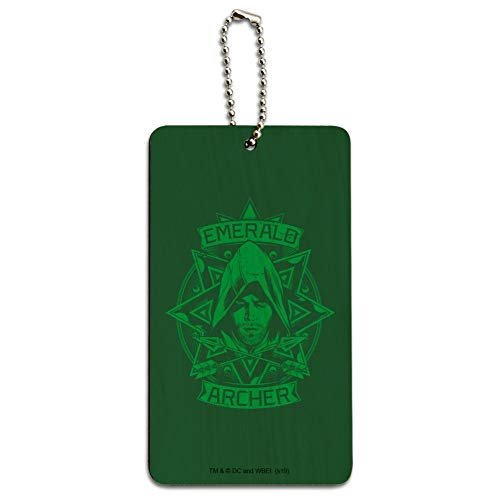 Arrow TV Series Emerald Archer Wood Luggage Card Suitcase Carry-On ID Tag