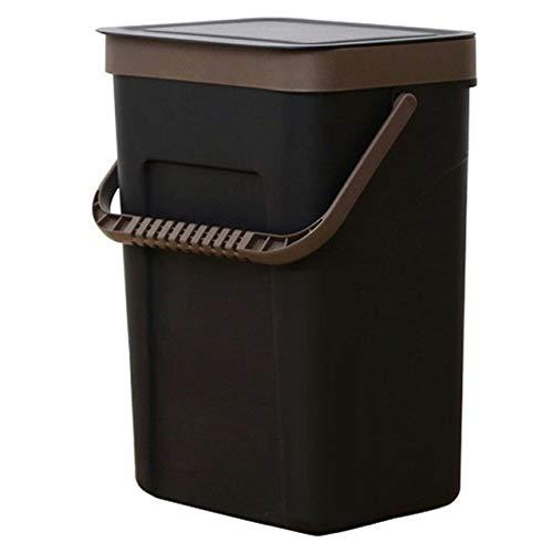 Xcwsmdq Mülleimer Abfalleimer Büro Küche Badezimmer Mülltonne mit Platz sparend Start der Wand befestigten Papierkorb Dual-Use-Aufbewahrungsbox Reinigungsmittel (Color : Black L)
