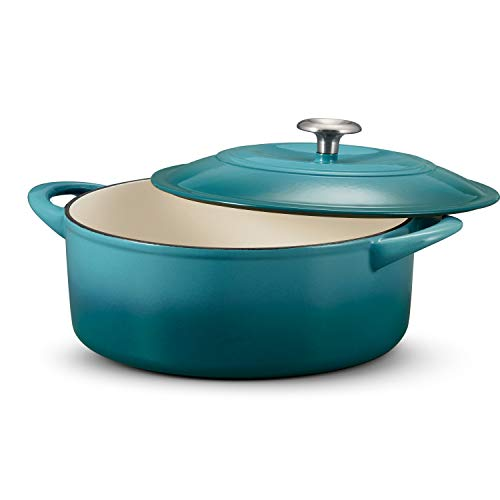 Tramontina 6 Qt Teal Enameled Cast-Iron Covered Dutch, 6