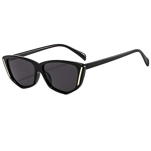 Gosunfly Gafas de sol, montura de visera, cara redonda, gafas de sol de protección UV europeas y americanas: las escamas negras y grises New_Bright
