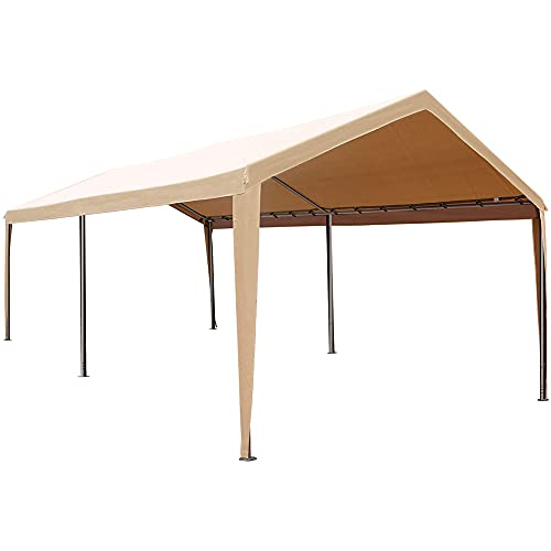 Abba Patio Portable Lightweight Carport Canopy 10 x 20 ft Easy to Assemble Garage Boat Shelter Car Tent for Party, Wedding, Garden, Outdoor Storage Shed with 6 Steel Legs, Khaki