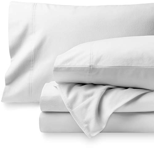 Bare Home Flannel Sheet Set 100% Cotton, Velvety Soft Heavyweight - Double Brushed Flannel - Deep Pocket (Queen, White)