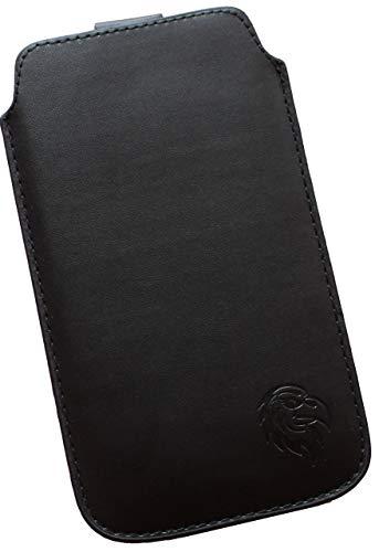 Dealbude24 Schutz Tasche für Samsung Galaxy S5 und S5 Neo, Pull tab Hülle Handy herausziehbar, dünnes Etui genäht mit Rausziehband, innen weiches Microfaser mit exklusiv Adler Motiv Z Schwarz
