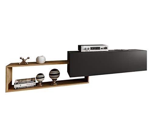 Mirjan24 TV Board Atlas mit Regal, Hängeschrank, Hängeboard, Fernsehschrank, TV Schrank, TV-Tisch, Fernsehtisch, Highboard, Sideboard, TV Bank, Lowboard (Schwarz/Wotan)