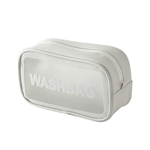 HSKB - Neceser impermeable de algodón y lino, portátil, para viajes y para maquillaje (21 x 12 x 7,5 cm) Blanco Blanco 21x12x7,5cm