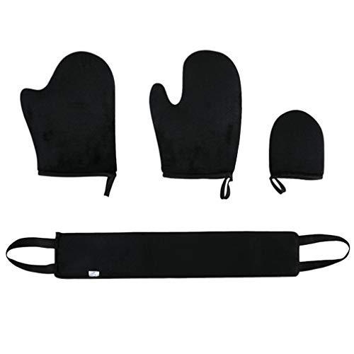 Pixnor 4-Teiliges Selbstbräunungshandschuh-Applikator-Kit Selbstbräunerhandschuh-Badestreifen-Bräunungsapplikator für Selbstbräuner-Duschgel-Lotionen