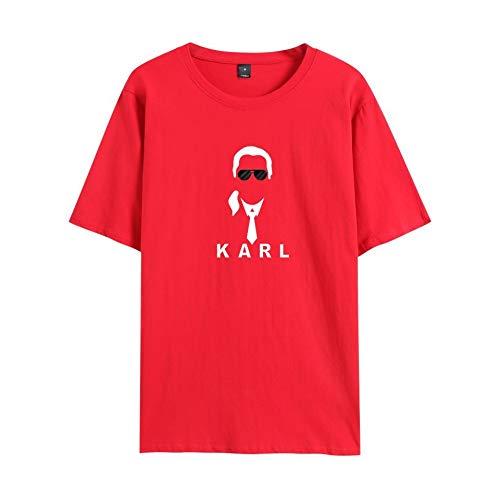 INSTO T-Shirt Karl Lagerfeld Karikatur Gedruckt T Unterhemd Sportbekleidung Fitness Tragen Unisex Freizeit/rot/L