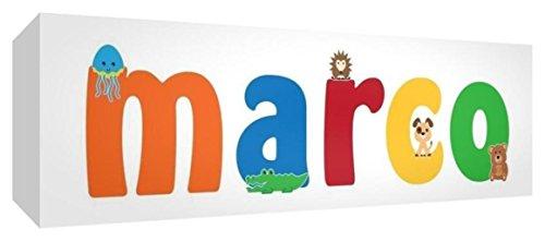 Little Helper LHV-MARCO-1542-15IT Tela per Nursery con Pannello Frontale, Disegno Personalizzabile con Nome da Ragazzi Marco, Multicolore, 15 x 42 x 4 cm