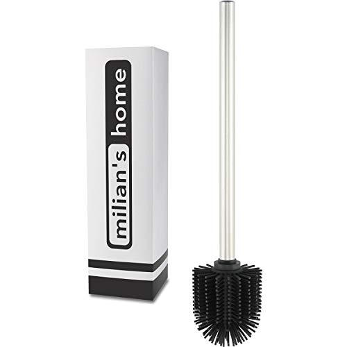 milian's home® Hygienische Wc Bürste aus Silikon - Ersatz Klobürste schwarz - Toilettenbürste mit rostbeständigem Griff aus Edelstahl