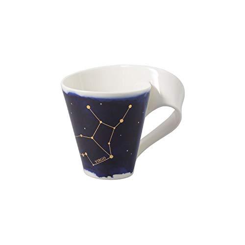 Villeroy & Boch - NewWave Stars Becher mit Henkel, formschöne Tasse mit Jungfrau-Motiv, Premium Porzellan, spülmaschinengeeignet, weiß/blau, 300 ml