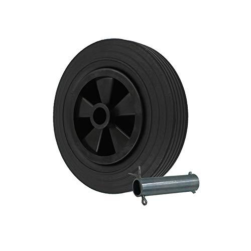 STRICKER-ROLLEN Vollgummi ERSATZRAD 200x50 mm für Anhänger-Stützrad Trailer inkl. Achse