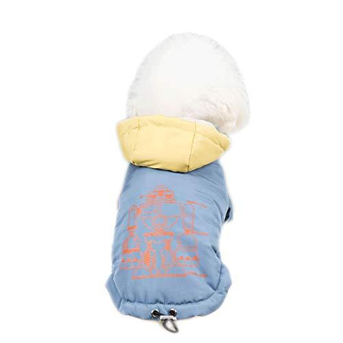 Modieuze kleding voor huisdieren, kleine honden, voor dames, herfst en winter, dikke kleur, contrasterende jas, katoen, kleding met twee poten, gemakkelijk te reinigen, M, Blauw