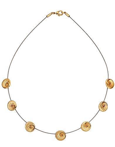 Perlkönig Kette Halskette   Damen Frauen   Gold Schwarz Farben   Runder Anhänger   Nickelabgabefrei