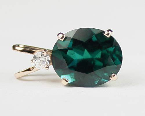 6 carat Created Hydrothermal Emerald 14k gold pendant •P022