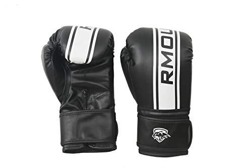 RMOUR Black Boxing Gloves for Training & Muay Thai | Maya Hide Leather Gloves for Sparring, Kickboxing, Fighting, Punch Bags, Double End Speed Ball & Focus Pads Punching (8 oz)