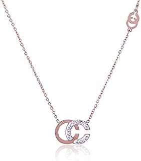 Davitu New Fashion Stainless Steel Necklace for Women Rose Gold Color Chain Choker Letter C Pendants with Crystal Colar CC Jewelry - (Metal Color: Rose Gold Color)