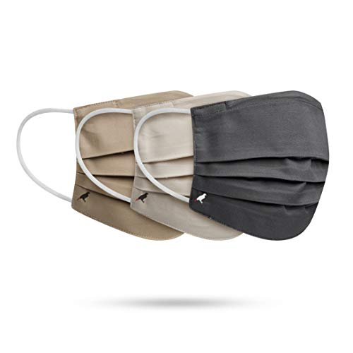 PALE MALE BOX FABRIC FACE MASKS Water Repellent Pleated Style Nose Wire Filter Pocket SIZE-L(Gray-Khaki-Brown)
